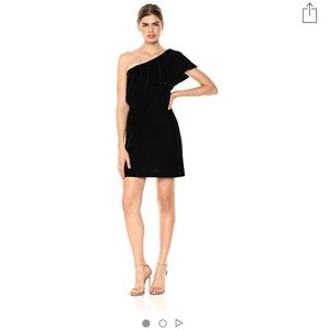 Kensie One Shoulder Black Velvet Dress